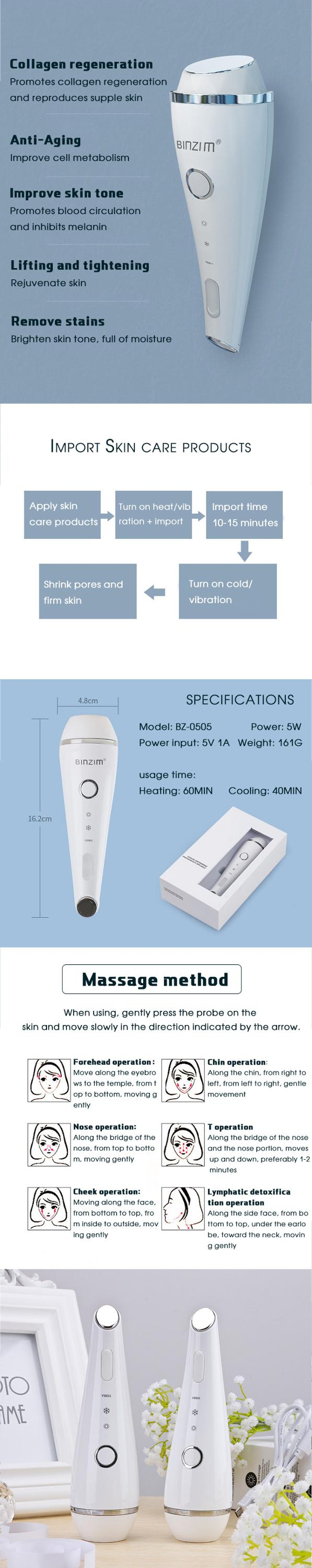 Hot sale skin rejuvenation hot cold hammer/home use hot and cold facial massage beauty machine