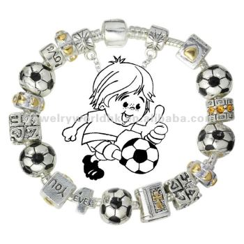 Sports Jewellery Football Soccer Charm Beaded Bracelets