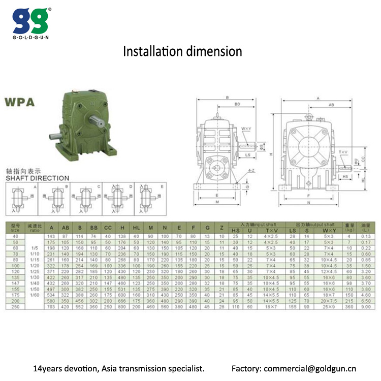 WPA Series Cast Iron Worm Speed Reducer