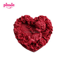 Angel Rose Flower Heart Shaped Silicone Soap Molds Form for Soap Clay Mold Salt Carving Mould