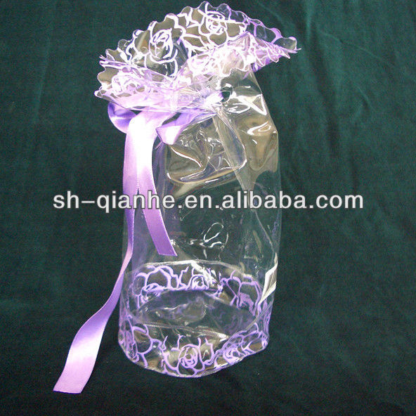 Printed pvc soft bag ribbon closure plastic bag