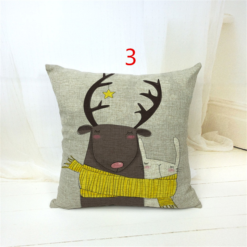 Cotton Linen Catroon print Cushion Cover Rustic <font><b>Elegant</b></font> Car Pillowslip <font><b>Home</b></font> <font><b>Decoration</b></font> Pillowcase for Office Sofa 43x43cm