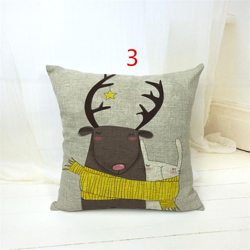 Cotton Linen Catroon print Cushion Cover Rustic <font><b>Elegant</b></font> Car Pillowslip <font><b>Home</b></font> <font><b>Decoration</b></font> Pillowcase for Office Sofa 43x43cm
