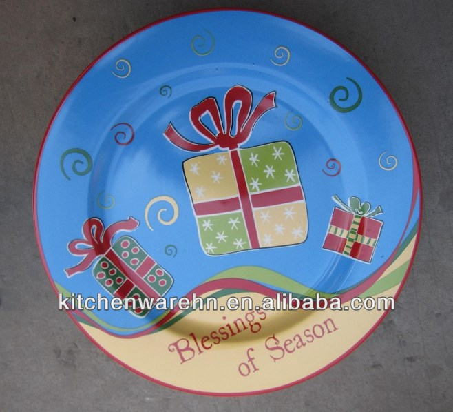 modern hand painted ceramic decorative christmas tree plate