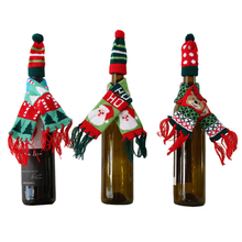 Wine Bottle Cover Christmas Pouch Santa Claus scarf with Hat Decor Gifts Tableware Decoration for New Year Christmas Ornaments