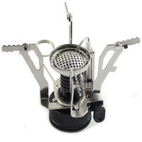 Portable outdoor camping gas stove with piezo ignition butane gas burner