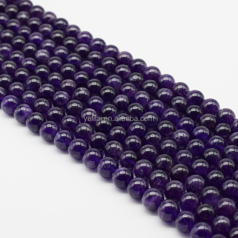 Polished A quality 8mm Loose Natural Amethyst Gemstone Stone Beads Strand With Factory Price, 100% natural color