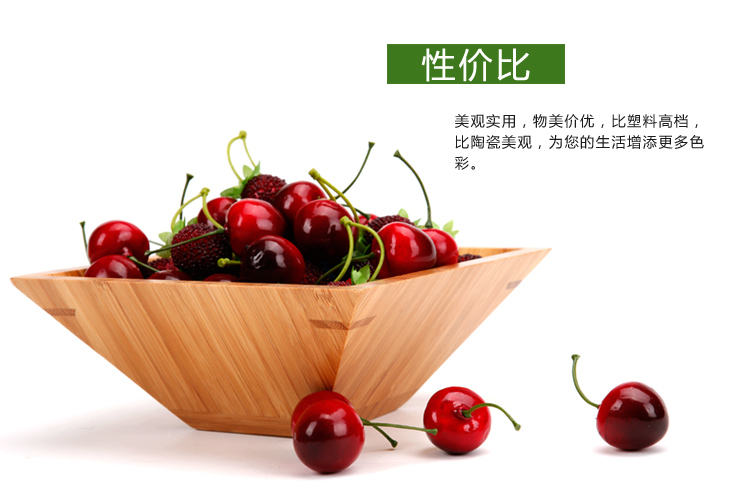 Wholesale-Square high-grade fruit plate fruit candy dish bamboo  environmental health snack debris storage disk special utility