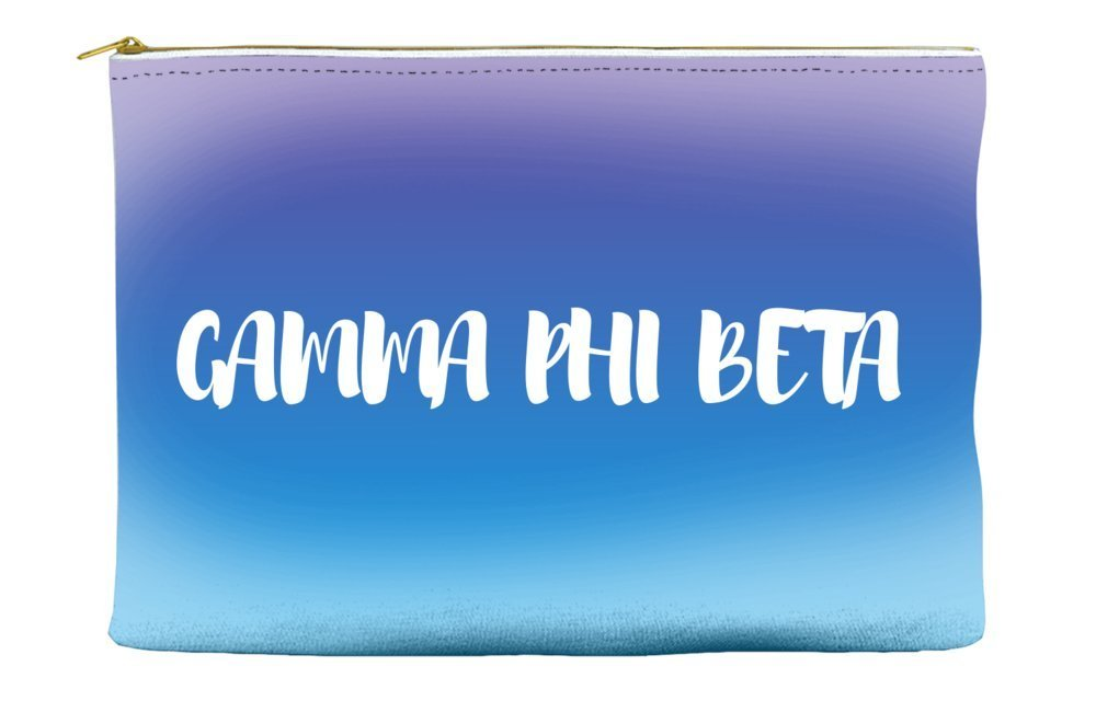Gamma Phi Beta Ombre Sunset Purple Blue Cosmetic Accessory Pouch Bag for Makeup Jewelry & other Essentials