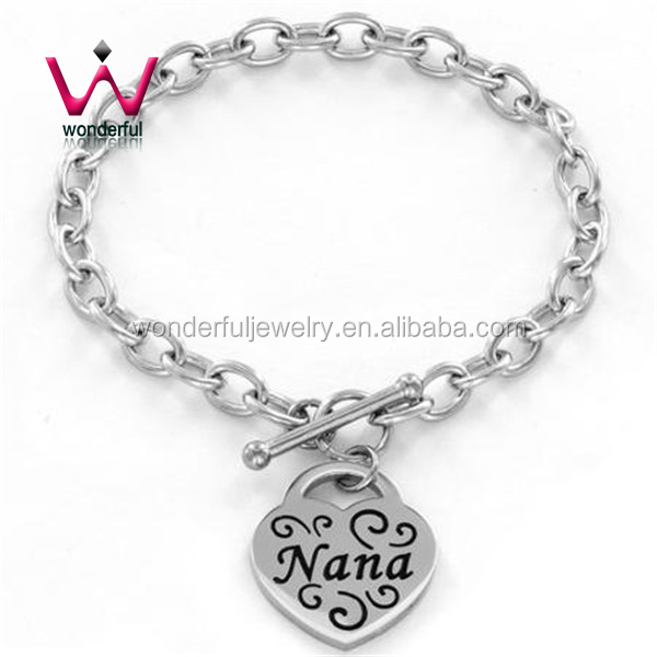 Toggle Clasp Heart Tag Stainless Steel Stamped Jewelry Bracelet