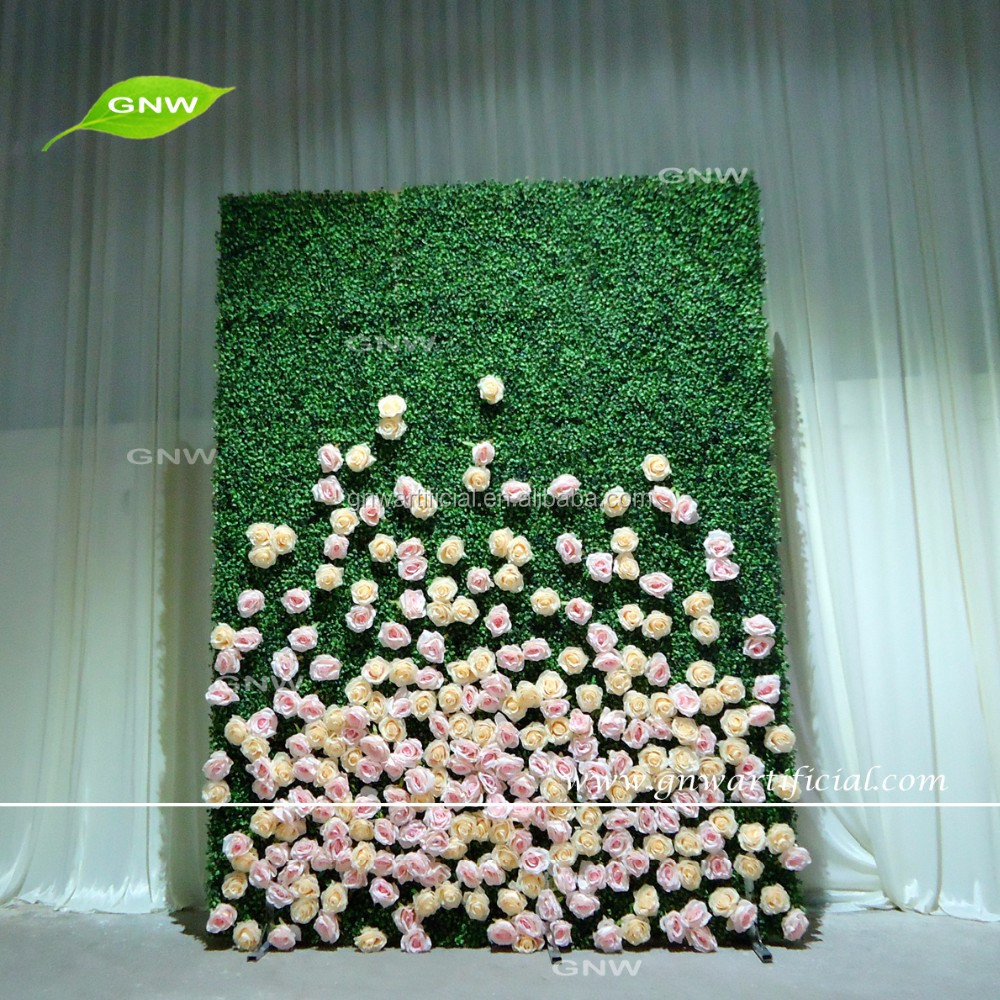 GNW FLW1606004 Decorative rose and boxwood assorted flower wall Artificial flowers wall