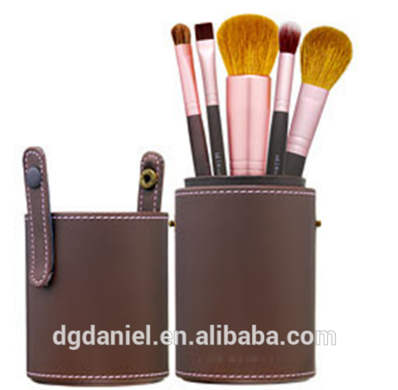 high Brow cylinder professional 5 pcs cosmetic brushes set / professional brushes makeup manufacturer for artist brush