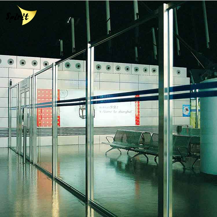 stainless steel indoor wall glass partition system workstation in airport