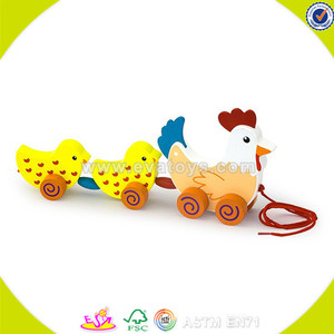 Wholesale lovely wooden drag toy cute wooden drag hen and chicks toy toddler wooden drag toy for fun W05B097