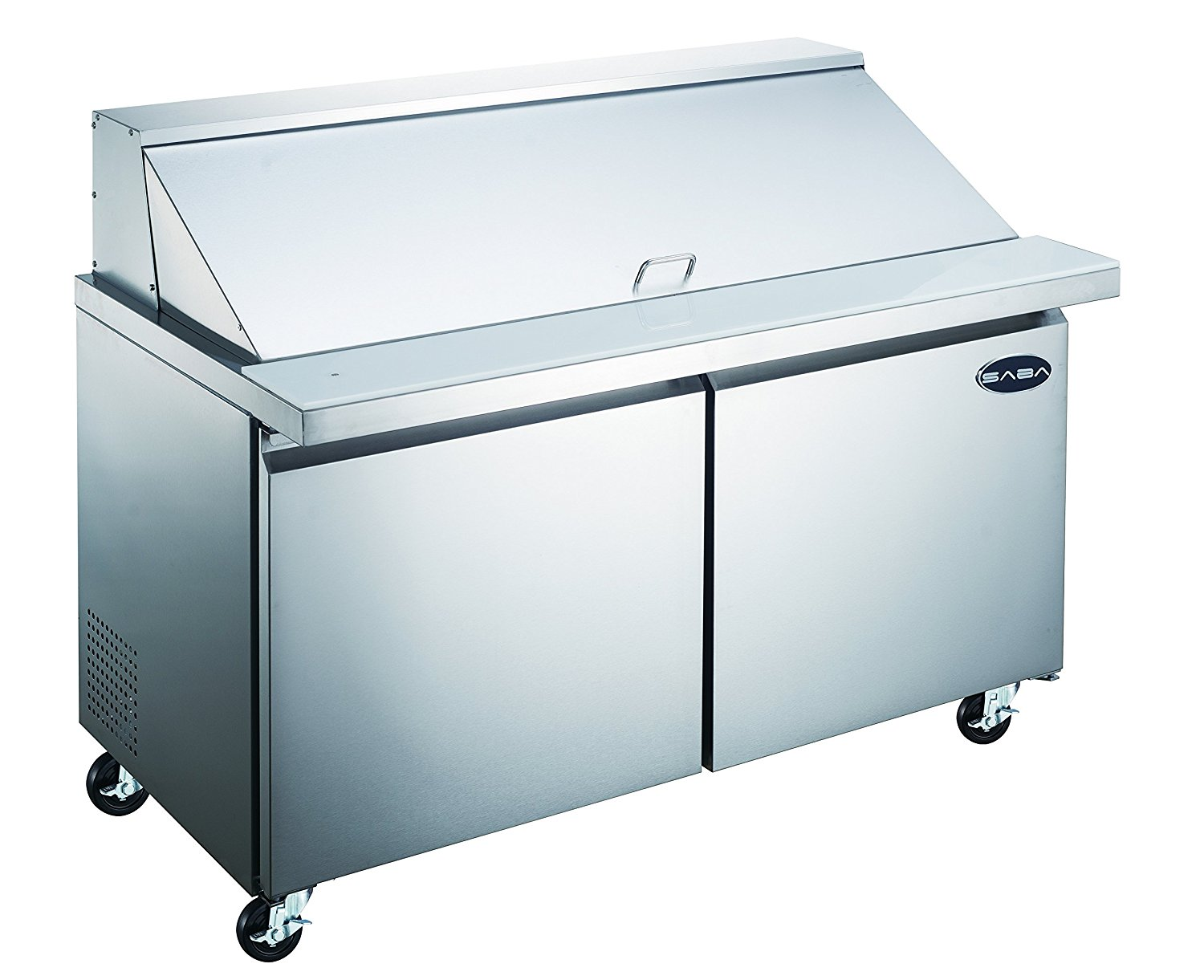 SABA Heavy Duty Commercial Stainless Steel Mega Prep Table Refrigerator Cooler 2 Door 60""