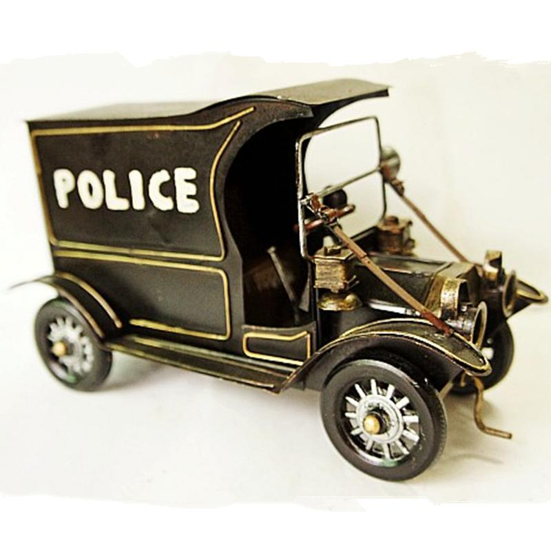 Handmade Iron Tin Painted Antique Vintage Cop Car Model Home Decorative Metal crafts Car Model Collection Crafts 26*11*14cm