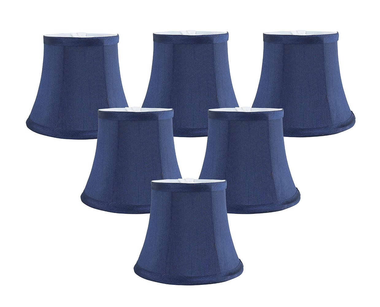 Meriville Set of 6 Blue Faux Silk Clip On Chandelier Lamp Shades, 4-inch by 6-inch by 5-inch