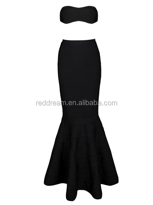 Wholesale Sexy Women Bandage Dress Cropped Outfit tewo pieces Bodycon black dressesdresses korea evening dress2015