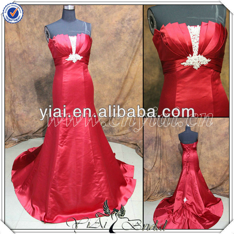 PP2716 Newest Beaded Red Silk Satin Mermaid Long Tail Elgant Evening Gowns