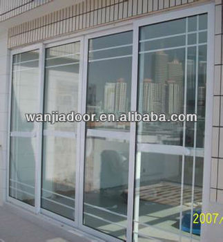 Hot sell pvc plastic interior french sliding glass door for Plastic french doors
