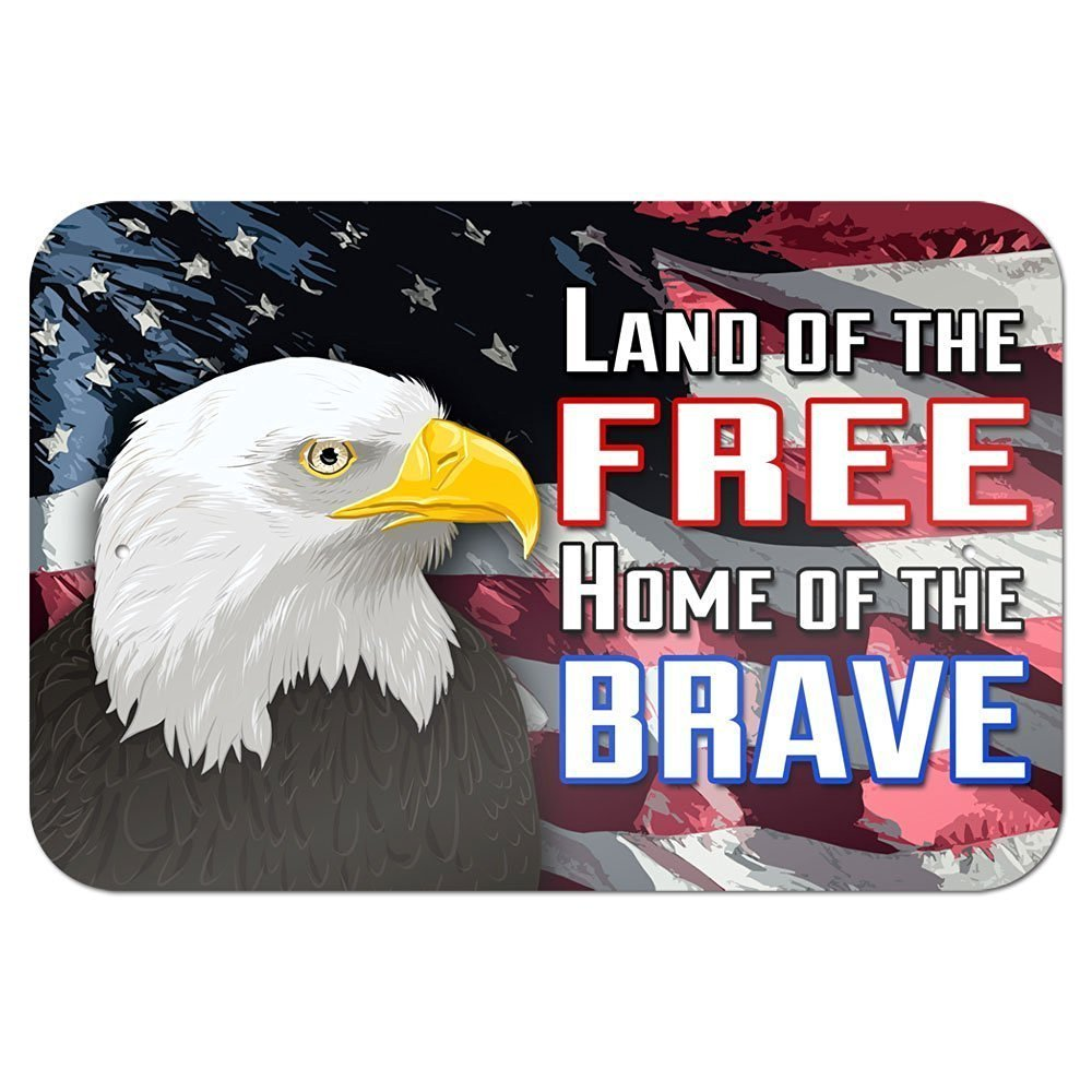 "Land of the Free Home of the Brave - America USA United States Eagle Flag Patriotic 9""x 6"" Metal Tin Sign"