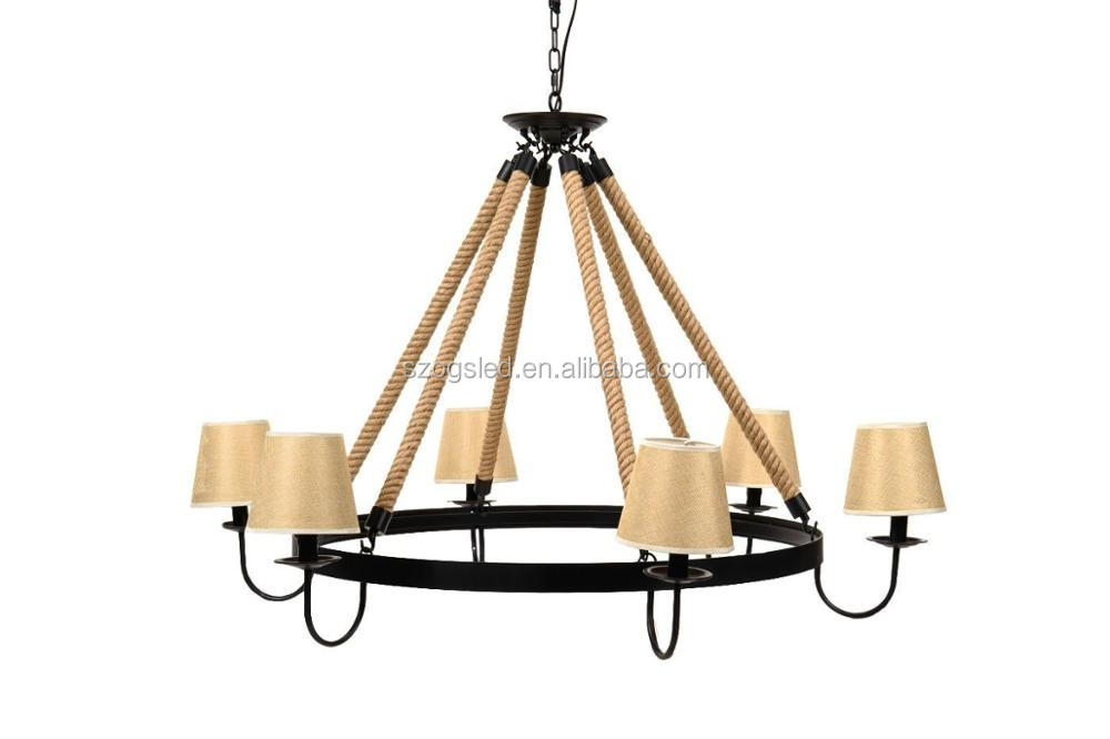Large Hotel 220v Fabric Lampshade Chandelier Pendant Lights