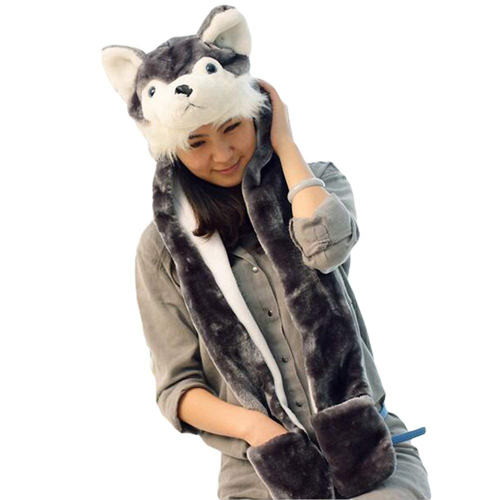 b0f312b6a6c Get Quotations · Julvie Animal Hat Gloves Scarf 3 In 1 Set Animal Hooded  Scarf with Attached Mittens