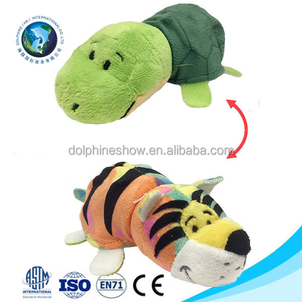 Souvenir gift custom cute plush animal green sea turtle switch toy Fashion 2 in 1 reversible soft stuffed plush tiger