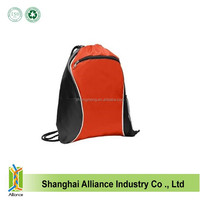 Fashion reusage drawstring bags with zipper pocket and side mesh pockets gym sports cinch backpack