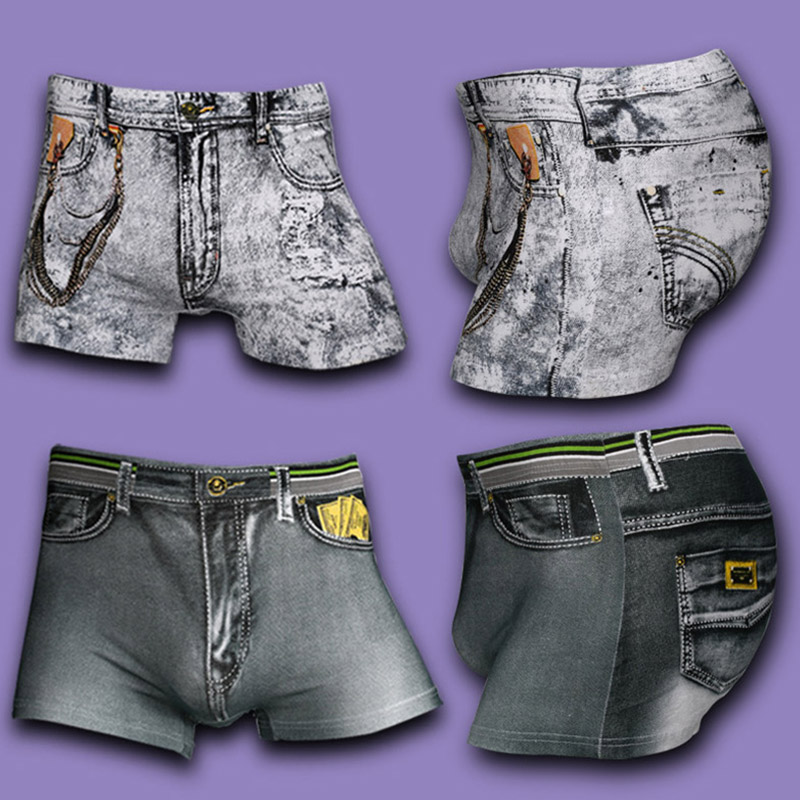 Men's Boxers Comfortable 3D Jeans Printing Cotton Underwear
