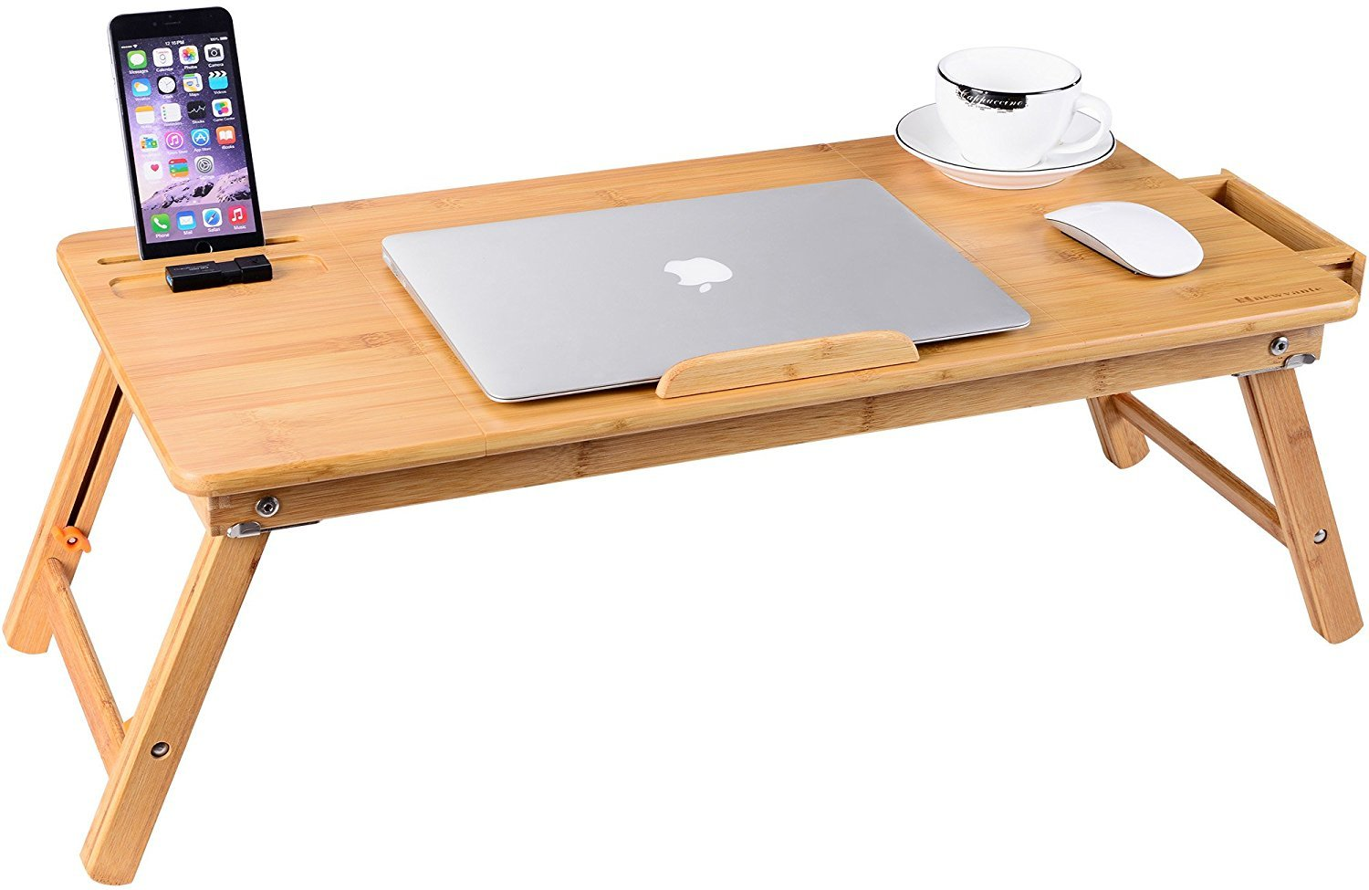 Laptop Tray Desk NNEWVANTE Bamboo Adjustable Table Foldable Breakfast Serving Right-Left Hand Bed Tray Large Size-71L