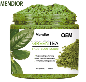 Mendior OEM Matcha green tea body scrub hemp oil body scrub