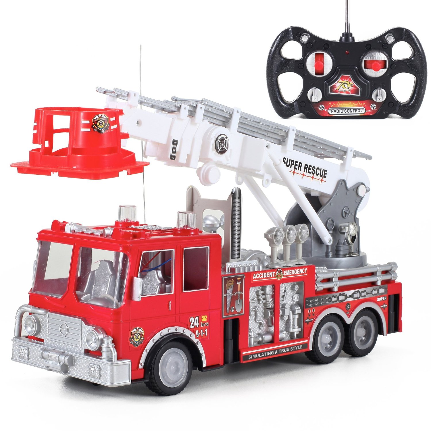 "Liberty Imports 13"" R/C Rescue Fire Engine Truck Remote Control Kids Toy with Extending Ladder"