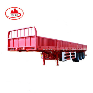 Cheap 3 axle side drop flatbed semi trailer/ 50tons dry van trailer / bulk cargo trailer truck for sale