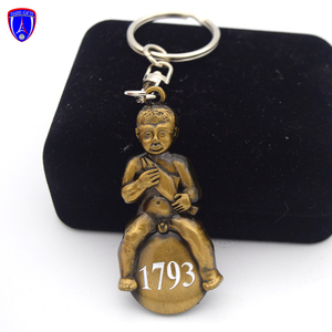 Custom logo 3d relief funny metal keychain creative antique bronze naked boy keyring