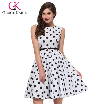 e27dcb78c1 Grace Karin Big Plus size Sleeveless Cheap Short vintage Retro 50s Cotton polka  dots Dresses CL6086