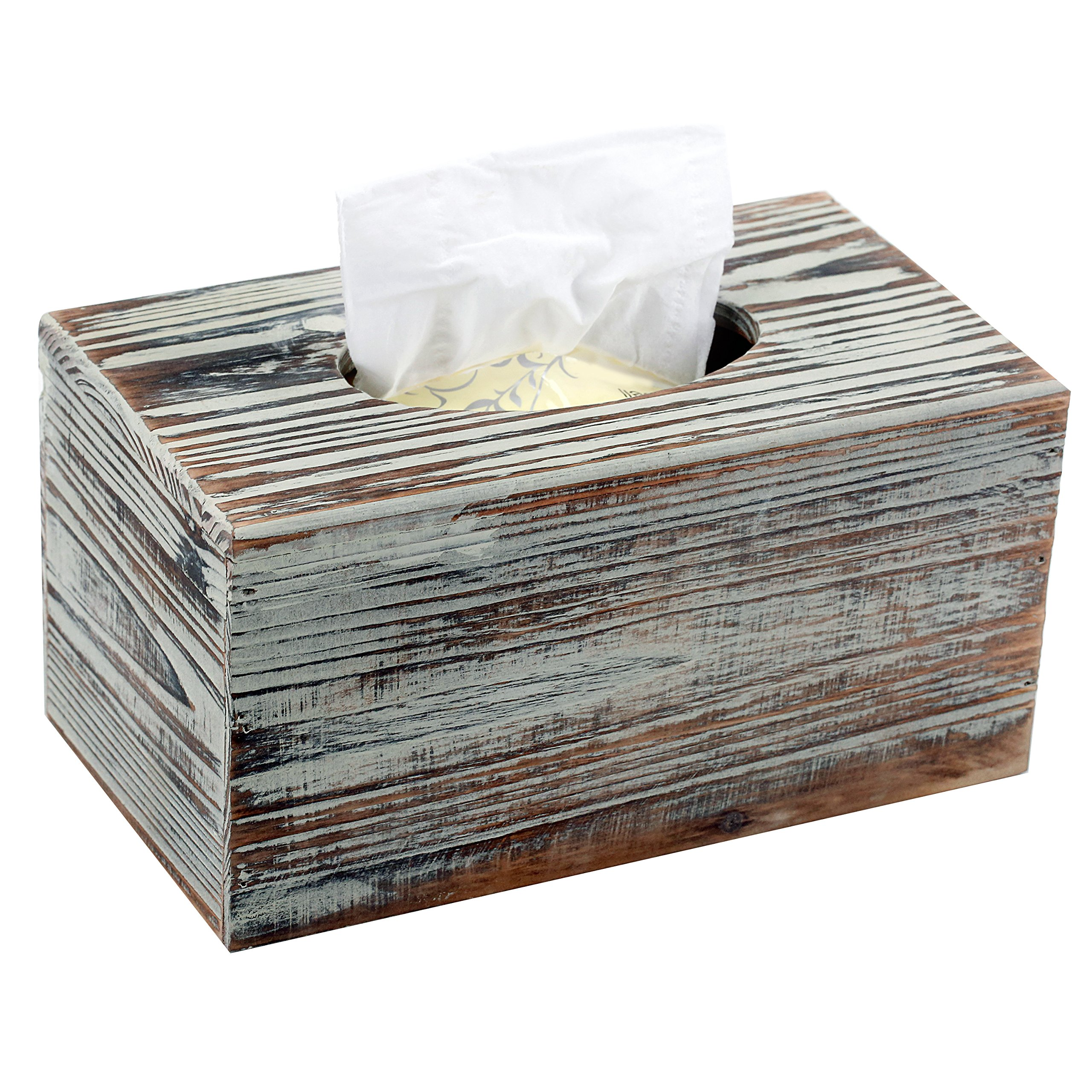 Mygift Decorative Rustic Torched Wood Rectangular Tissue Box Cover Holder