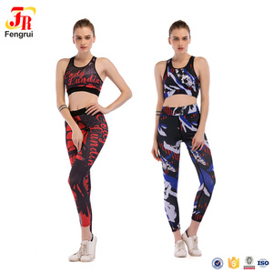 Sexy Workout Sports Racerback Bra And Tight Leggings Sets Lady Skinny Supplex Activewear