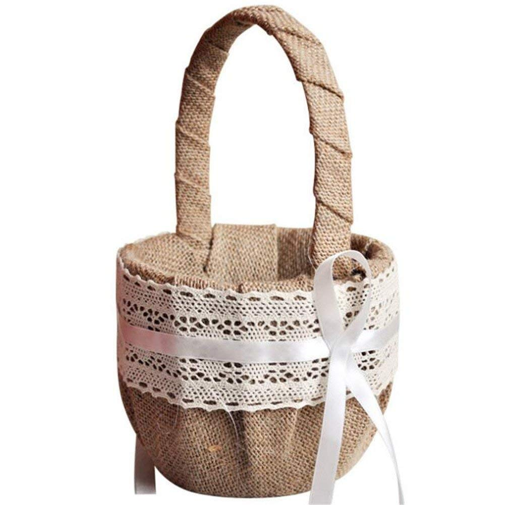 VAlink Wedding Vintage Basket, Flower Girl Basket, Bowknot Burlap Satin Flower Gift Basket for Ceremony Wedding Decoration, Lace Flower Basket, Candy Storage Flower Girl Basket Container