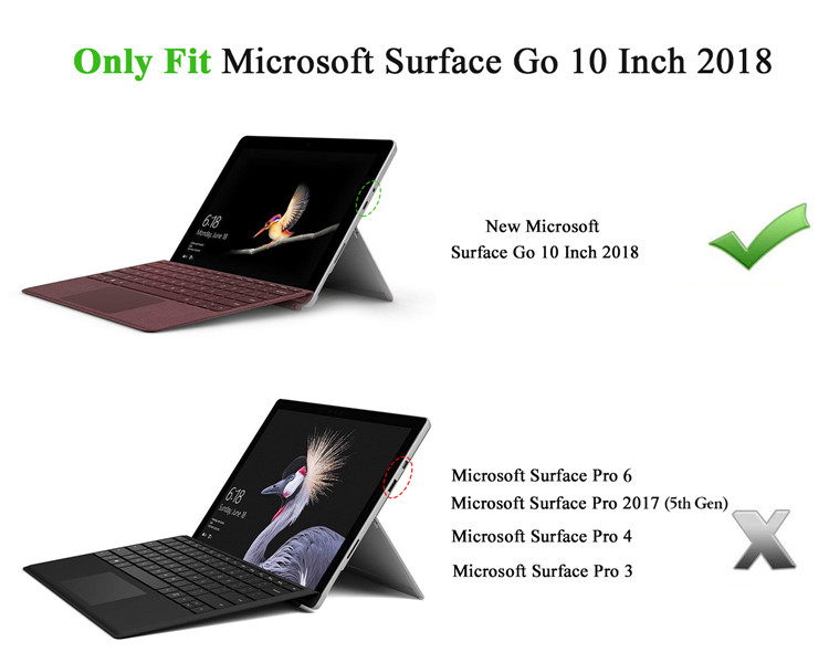 All-in-One Protective Rugged Cover Case Compatible with Type Cover Keyboard for Surface Go 2 2020/Surface Go 10'' 2018