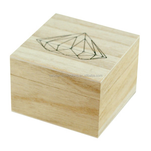 Small silk-screen printing logo square wood box with lid