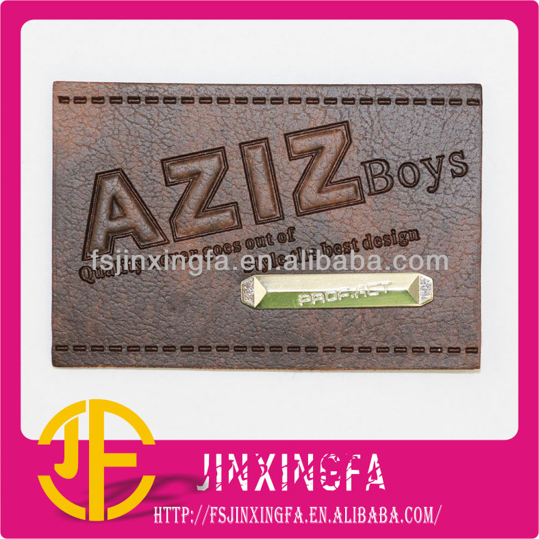 Stamped Logo With Metal Brand PU Label