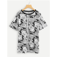 Wholesale Bulk Women Unique Comics Printed t- shirts Tee Lady Clothing Short Sleeve Cartoon Character T Shirts For Women