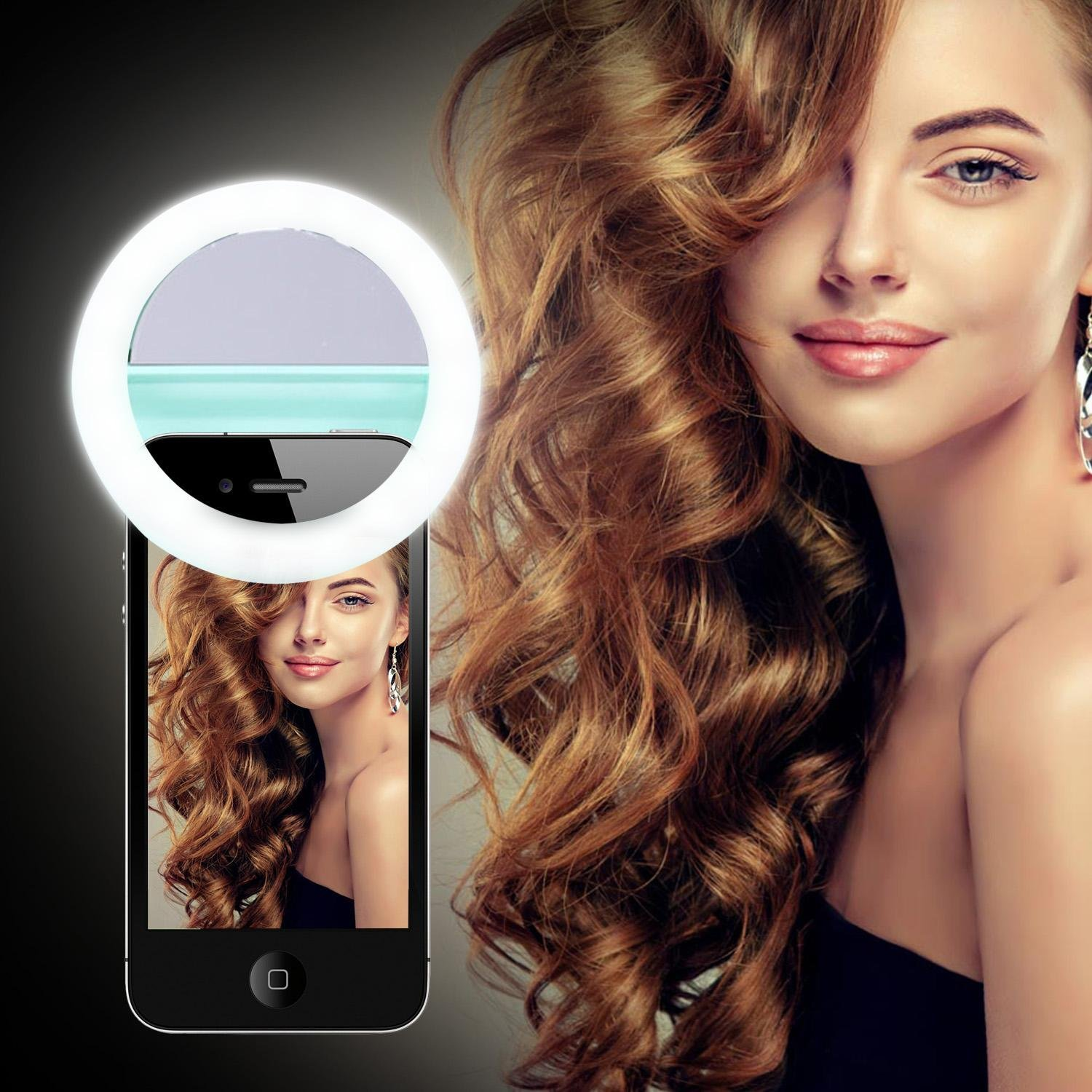 KOBWA 40 LED Selfie Ring Light,Clip-on Selfie Ring Fill Light for Camera with Makeup Mirror,Rechargable Battery,Selfie LED Camera Light for IPhone IPad Sumsung Galaxy Smart Phones