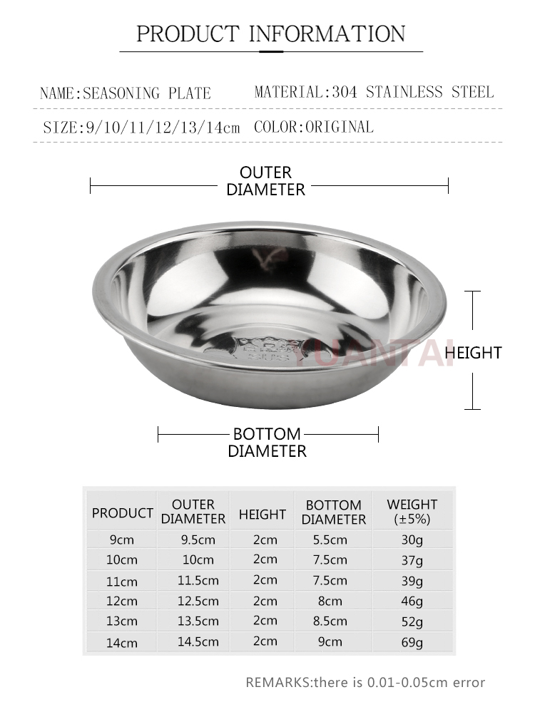 stainless steel small Sauce saucer/Round saucer with sauce/Circular tray