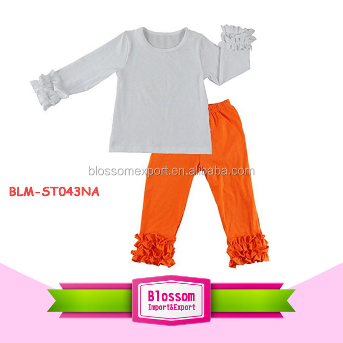Children Baby Cotton football ruffle raglan shirts blank sleeved icing Pants giggle moon remake fall boutique outfits