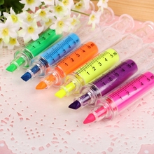 Lucu Kawaii Fluorescent Syringe Watercolor Pens Highlighters Marker Pen Korean Stationery Sekolah