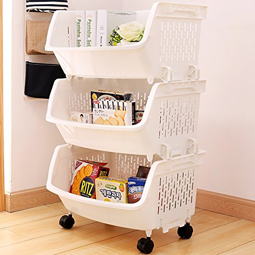 Aj Storage Stacking Bins Household Kitchen Plastic Stackable Vertical Organizational Vegetable Fruit Food