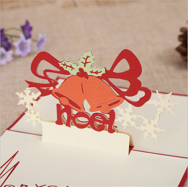 Wholesale custom die cut silk printing Christmas bells 3d pop up Christmas greeting card