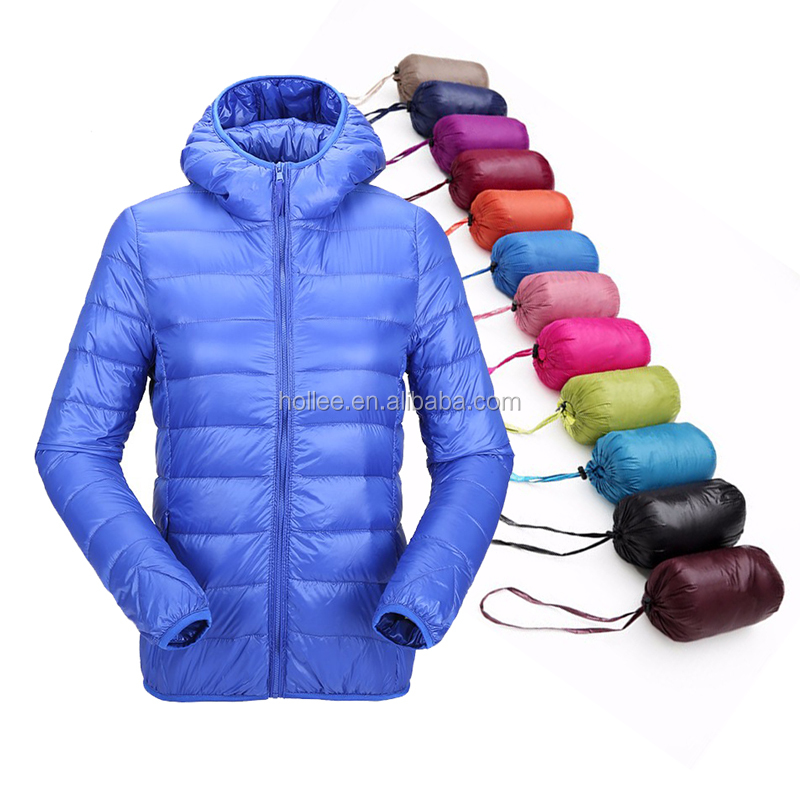hooded women ultra thin foldable down jacket with pouch